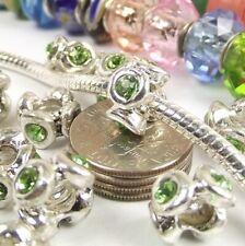 Green Crystal Screw Threaded Lock Stop Bead for Silver European Charm Bracelet