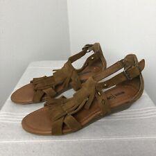 Womens Minnetonka Marina Fringed Wedge Sandals   Stud Embellishments   Brown   6