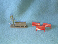 Ho Scale Scenery Lot Benches & Water Spout w/ Bucket Lot of 2 Trains Hobbies