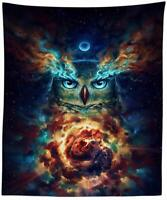 """Owl Tapestry Galaxy Stars Celestial Wall Hanging 51"""" x 59"""" Decorative Tapestry"""