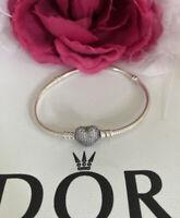 "Pandora Moments Pave Heart Clasp Bracelet Charm Sterling Silver Snake Chain 7.5"""