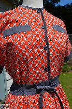 """VINTAGE RED COTONE Tea Dress anni 1940 stile anni'70 Marion Donaldson LIBERTY 10 36"""""""