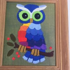 Vintage Needlepoint Finished Framed Owl Boho