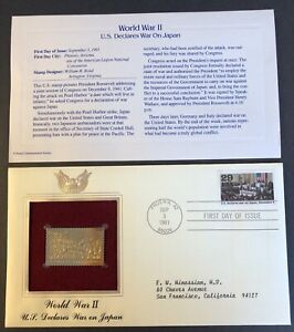 22kt Gold Stamp WWII, WAR DECLARED ON JAPAN 1st Day Cover Proof USA 1991