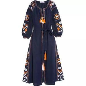 Women Embroidered Boho Dress Vyshyvanka Folk Ethnic Style Dresses Vogue Shirt S
