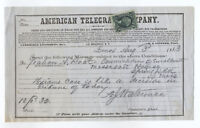 1863 3 cent Telegraph part perf R19b on American Telegraph Co form [y2906]