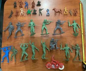 Vintage Old Plastic Toy Soldiers Lot - Marx WWII German US Carzol Auburn