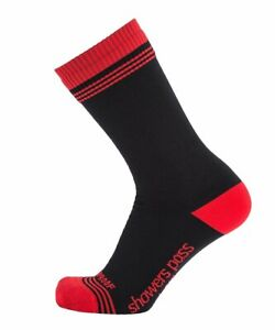 2019/20 Crosspoint Waterproof Crew Socks in Black/Red by Showers Pass