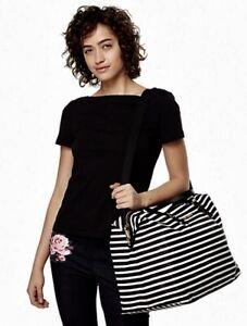 NWT Kate Spade Watson Lane LYLA Black Striped Nylon Duffel Weekender Travel Bag