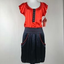 Lauren Moffat Women Navy Orange Smocked Bubble Hem Silk Dress sz 6 NWT