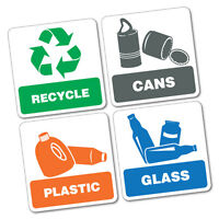 4X Bin Signs Recycle Cans Plastic Glass Sticker  #7016EN