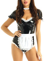 Women Wet Look Patent Leather French Maid Cosplay Halloween Costume Outfits Sexy