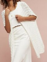 Mo:vint Anthropologie Sz S White Open Duster Sweater Cable Knit Long Cardigan
