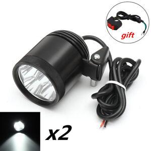 2x Aluminum White LED Spot Light Motorcycle Shooter Driving Fog DRL Lamp 40W 12V