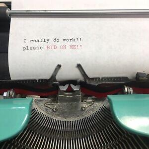 Kmart SS Kresge 300 Deluxe 12 Mechanical Typewriter Turquoise Case Vintage 1976