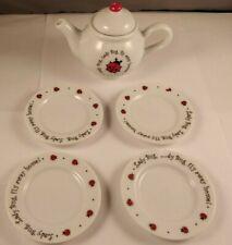 Vintage Child's Tea Set, 5 pcs, White Porcelain, Red, Black Lady Bugs, Schylling