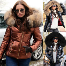 Roiii Womens Ladies Quilited Winter Coats Puffer Fur Collar Hooded Jackets Parka
