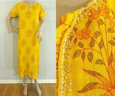 Vintage 80s Yellow Floral Long Layering Ethnic Tunic Kurta Dress Womens Medium