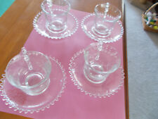 Candlewick Cup & Saucer Pattern Lot of Four Sets  Clear Vintage For Pet Rescue