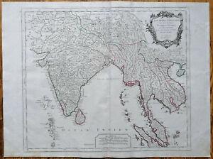 Vaugondy Original Kupferstich Karte Indien Thailand - 1750