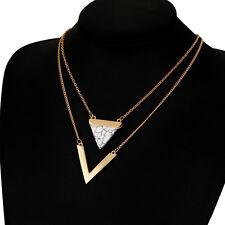 Simple Women Fashion V triangle Pendant Punk Jewelry Thin Dainty Retro Necklace