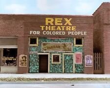 """REX THEATRE FOR COLORED PEOPLE 1937 LELAND MS 8x10"""" HAND COLOR TINTED PHOTOGRAPH"""