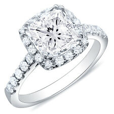 1.22 Ct. Princess Cut Halo Pave Round Diamond 14K Engagement Ring G,VVS2 EGL