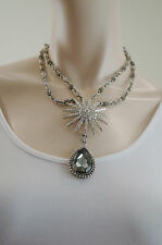 OTAZU Women's Clear & Grey Swarovski Crystal Sun & Tear Drop Necklace / Choker