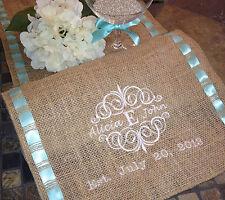 "12"" X 72"" Monogram Personalized Burlap Ribbon Trim Table Runner Wedding Decor"