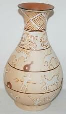 "Formalities By Baum Bros Pottery 10"" Short Vase Primitive Ethnic Collection ~Cc"