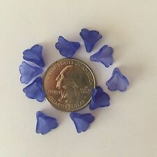 50 Dainty Small Frosted Shades of Periwinkle Blue Trumpet Flower Acrylic Beads