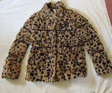 BLUE ZOO faux Leopard skin fur COAT with sequinned detail 13 yrs.vgc