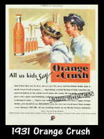 Vintage 1931 ORANGE CRUSH SODA AD MAGNET ~ Thin Flexible 4x3 in.