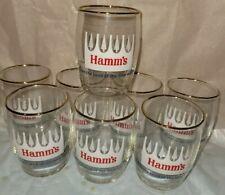 """8 Hamms Beer 3.5"""" Glass Mini White Pine Tree Barrel Gold Rim Taster VTG  Bar Set"""
