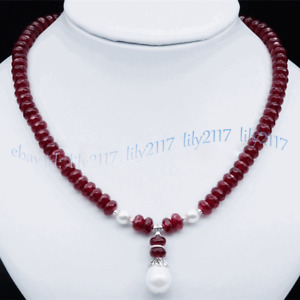 Faceted 5x8mm Red Ruby Rondelle Gem White Shell Pearl Drop Pendant Necklace 18''