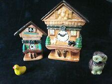 2 Small Cuckoo Clock Porcelain Hinged Trinket Boxes W/Cuckoo Bird & Owl