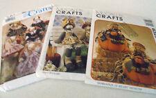 Craft Toy Sewing Patterns McCalls 9163,8329,7707 Bunnies, Harvest Bunny Wardrobe