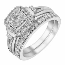 H Samuel 9ct White Gold 0.66 Carat Diamond Ring Perfect Fit Bridal Set - M 5.7g
