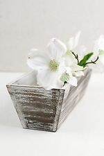 "Richland Planter Boxes Wood Whitewashed Tapered 4"" x 12"" Home Garden Wedding"