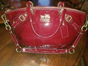 Coach Madison Sophia Red Crimson Gold Patent Leather Purse Oprah GIFT