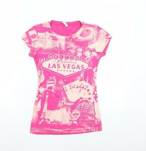 RESERVED Womens Pink   Basic T-Shirt Size S  - Las Vegas