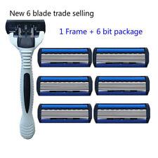 Men's Razor Blade Shaving Cassettes 6 Layer Straight Razor Beard MajbHTRnd