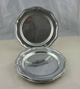 "Wilton Armetale Queen Anne Pewter Plate 9"" Lot of 4"
