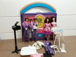 Vintage 1976 Donnie and Marie Osmond Dolls w/Original Outfits, Case, Stage Props
