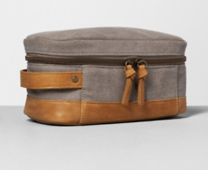 NEW Hearth & Hand™ with Magnolia Gray Dopp Kit Canvas and Leather
