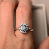 14K Solid White Gold Rings 1.80 Ct Oval Natural Diamond Aquamarine Wedding Ring