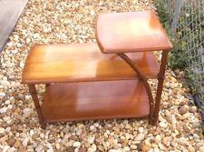 Heywood Wakefield Vintage Rattan 3 Tier Side Table W/ Glass