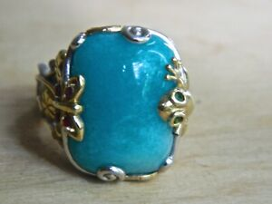 ONE OF A KIND BLUE STONE RING IN STERLING & GOLD