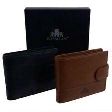 Rowallan of Scotland Leather Mens Wallet Tri-Fold Tabbed Coin & Card