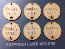X10 Santa's Milk Tag, Christmas, MDF, Shape, Craft, Father Christmas